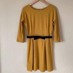 Anthro Girls from Savoy Mustard Long Sleeve Dress